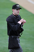 Umpire Brett Terry during game between the High Desert Mavericks and the Rancho Cucamonga Quakes  at The Epicenter in Rancho Cucamonga,California on May 8, 2011. Photo by Larry Goren/Four Seam Images