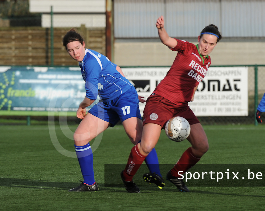 20160116 - ZULTE , BELGIUM : Zulte-Waregem's Joke Verlinde (R) and Gent's Florien Meulewaeter (L)  pictured during a soccer match between the women teams of ZULTE-WAREGEM and AA GENT B  , during the fifteenth matchday in the First League - Eerste Nationale season, Saturday 16 January 2016 . PHOTO DIRK VUYLSTEKE