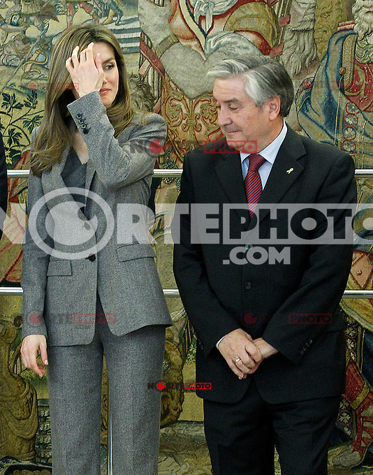Princess Letizia of Spain attends audiences with a representation of the Spanish Federation of Rare Diseases (FEDER), the Spanish Federation of neuromuscular diseases (ASEM) and the Isabel Gemio Foundation.January 10 ,2012. (ALTERPHOTOS/Acero) /NortePhoto