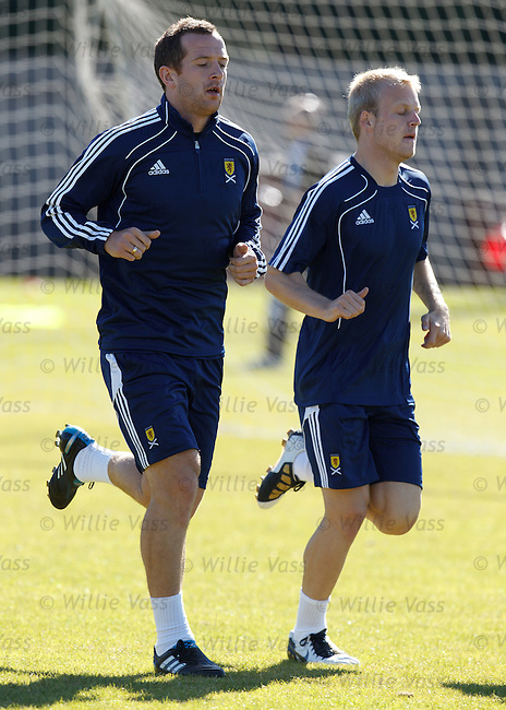Charlie Adam and Steven Naismith at Scotland training