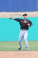Luis Caballero (7) of the Bakersfield Blaze in the field during a game against the High Desert Mavericks at Mavericks Stadium on May 18, 2015 in Adelanto, California. High Desert defeated Bakersfield, 7-6. (Larry Goren/Four Seam Images)