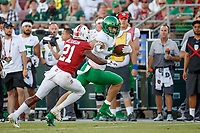 STANFORD, CA - SEPTEMBER 21: Jacob Breeland #27 of the Oregon Ducks is pursued by Kendall Williamson #21 of the Stanford Cardinal during a game between University of Oregon and Stanford Football at Stanford Stadium on September 21, 2019 in Stanford, California.
