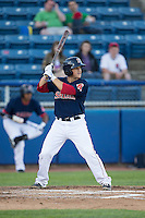 Jake Romanski (22) of the Salem Red Sox at bat against the Winston-Salem Dash at LewisGale Field at Salem Memorial Ballpark on May 13, 2015 in Salem, Virginia.  The Red Sox defeated the Dash 8-2.  (Brian Westerholt/Four Seam Images)