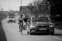 mechanics on the go..74th Gent-Wevelgem (2012).236km between Deinze & Wevelgem.winner 2012: Tom Boonen..