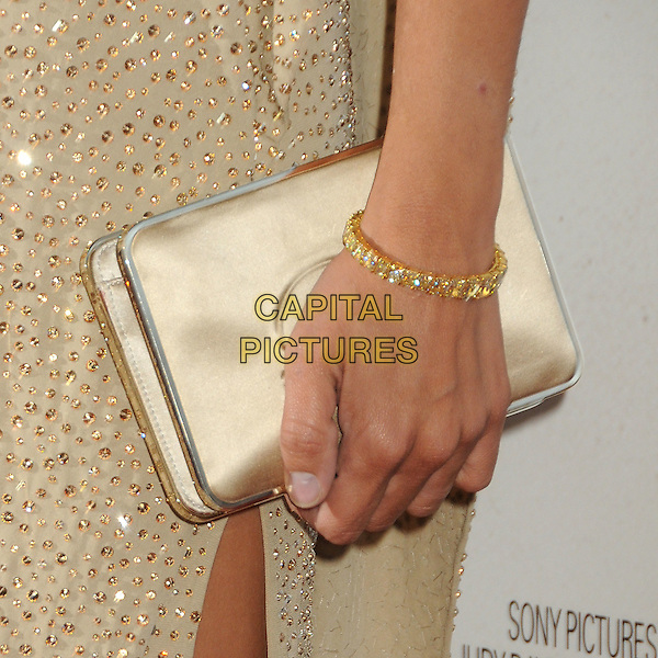 "Penelope Cruz's bag.""To Rome With Love"" Los Angeles Film Festival North American Premiere held at Regal Cinemas LA Live, Los Angeles, California, USA..June 14th, 2012.hand clutch bag bracelet  beige gold sparkly.CAP/ADM/BP.©Byron Purvis/AdMedia/Capital Pictures."