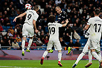 Real Madrid's Karim Benzema (L) and Alvaro Odriozola (R) and CD Leganes's Martin Braithwaite during Copa Del Rey match between Real Madrid and CD Leganes at Santiago Bernabeu Stadium in Madrid, Spain. January 09, 2019. (ALTERPHOTOS/A. Perez Meca)<br />  (ALTERPHOTOS/A. Perez Meca)