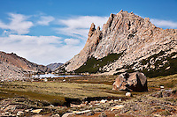 Laguna Toncek, with Refugio Frey on the far shore, located in the Parque Nacional Nahuel Huapi near Bariloche, Argentina.