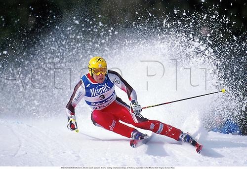 HERMANN MAIER (AUT), Men's Giant Slalom, World Skiing Championships, St Anton, Austria 010208 Photo:Neil Tingle/Action Plus...2001.winter sport.winter sports.wintersport.wintersports.alpine.ski.skier.man