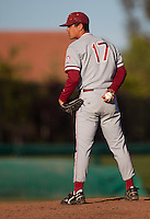 STOCKTON, CA - May 9, 2011: A.J. Vanegas of Stanford baseball waits to pitch during Stanford's game against Pacific at Klein Family Field in Stockton. Stanford won 11-5.