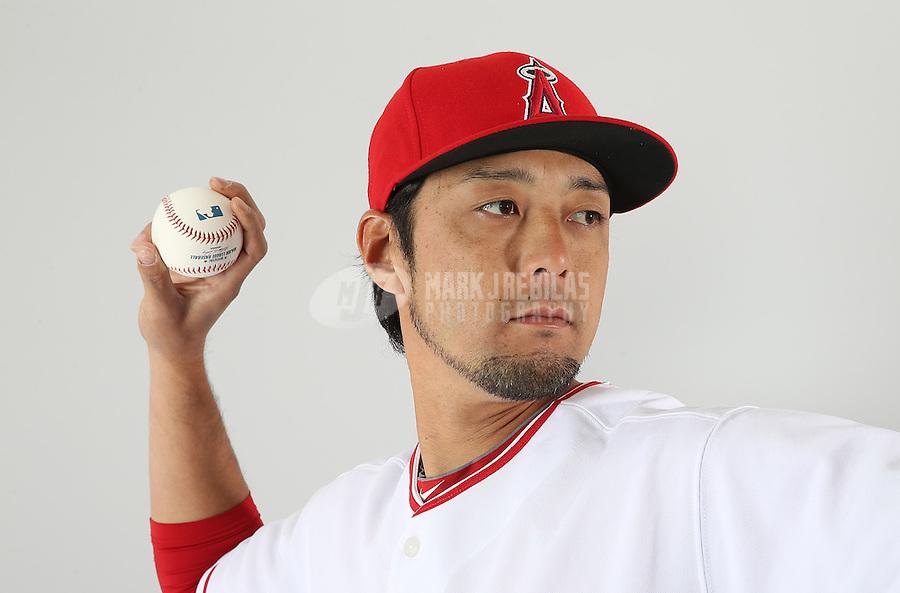 Feb. 21, 2013; Tempe, AZ, USA: Los Angeles Angels pitcher Hiroyuki Kobayashi poses for a portrait during photo day at Tempe Diablo Stadium. Mandatory Credit: Mark J. Rebilas-