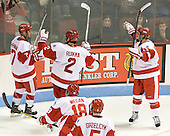 Cason Hohmann (BU - 7), Ryan Ruikka (BU - 2), Wade Megan (BU - 18), Matt Grzelcyk (BU - 5), Evan Rodrigues (BU - 17) - The Boston University Terriers defeated the visiting Providence College Friars 4-2 (EN) on Saturday, December 13, 2012, at Agganis Arena in Boston, Massachusetts.