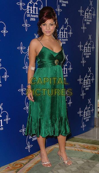 ROXANNE PALLETT.UK FiFi Awards 2006 Dorchester Hotel, London, UK..March 27th, 2006 .Ref: CAN.full length green dress.www.capitalpictures.com.sales@capitalpictures.com.©Capital Pictures