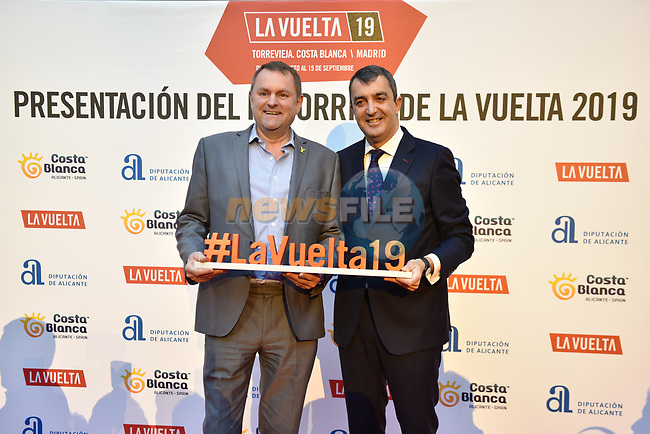 The official route for La Vuelta 19 was today announced at the ADDA auditorium in Alicante. The 74th edition of the Spanish race will take place between August 24th and September 15th 2019, setting out from Salinas de Torrevieja and ending in Madrid. 19th December 2018.<br /> Picture: Unipublic/Antonio Baixauli | Cyclefile<br /> <br /> <br /> All photos usage must carry mandatory copyright credit (&copy; Cyclefile | Unipublic/Antonio Baixauli)
