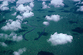 Tefe River, Brazil. Aerial view of tributary with ox bow lakes and meanders; Amazon rainforest.
