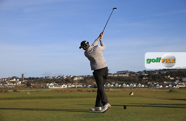 Final drive to the finish line for leader Josh Hilleard (Farrington GC) during the Final Round of the West of England Championship 2016, at Royal North Devon Golf Club, Westward Ho!, Devon  24/04/2016. Picture: Golffile | David Lloyd<br /> <br /> All photos usage must carry mandatory copyright credit (&copy; Golffile | David Lloyd)