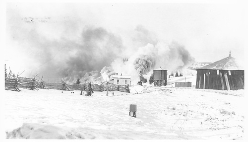 Broad view of D&amp;RG Cumbres station area from east. A freight train is arriving from Chama with two engines making considerable smoke.<br /> D&amp;RG  Cumbres, CO  Taken by Lively, Charles R.