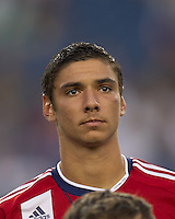 Chivas USA defender Zarek Valentin (20). In a Major League Soccer (MLS) match, Chivas USA defeated the New England Revolution, 3-2, at Gillette Stadium on August 6, 2011.