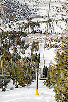 The view from the first chairlift on June Mountain. June Lake, California. March 2014.