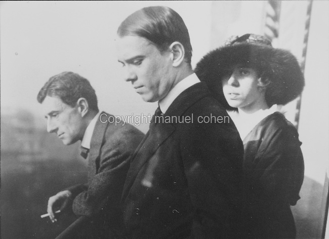 Maurice Ravel, 1875-1937, French composer, with Vaslav Nijinsky, 1889-1950, Russian ballet dancer and choreographer and Helene Jourdan Morhange, 1881-1961, French classical violinist who worked closely with Ravel, in a photograph taken c. 1923. Copyright © Collection Particuliere Tropmi / Manuel Cohen