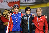 SCHAATSEN: HEERENVEEN: Thialf, Viking Race, 18-03-2011, Podium Boys11 2e 500m, Jochem van Lith (NED), Paul Galczinsky (GER), Stefan Haan (AUT), ©foto Martin de Jong