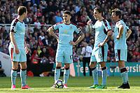 Burnley's (from left to right) Ashley Barnes, Robbie Brady, Jeff Hendrick &amp; Joey Barton discuss free kick tactics<br /> <br /> Photographer David Shipman/CameraSport<br /> <br /> The Premier League - Middlesbrough v Burnley - Saturday 8th April 2017 - Riverside Stadium - Middlesbrough<br /> <br /> World Copyright &copy; 2017 CameraSport. All rights reserved. 43 Linden Ave. Countesthorpe. Leicester. England. LE8 5PG - Tel: +44 (0) 116 277 4147 - admin@camerasport.com - www.camerasport.com