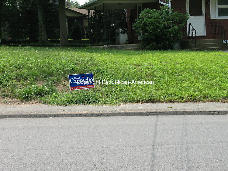 WATERBURY, CT - 21 August 2009 - 082109RA01 - Almost a year after David J. Cappiello of Danbury lost his bid for congress, his campaign sign is still up on Scott Road.
