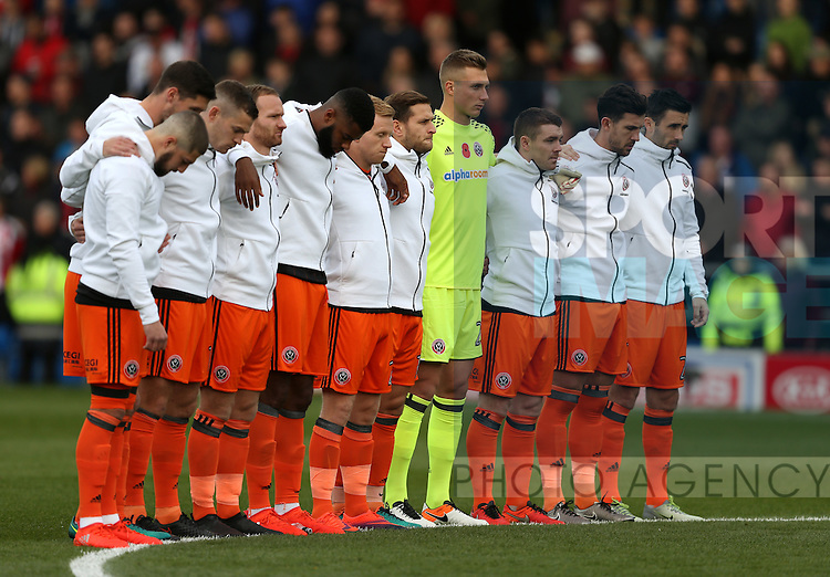 Sheffield Utd line up for a minutes silence during the English League One match at the Proact Stadium, Chesterfield. Picture date: November 13th, 2016. Pic Simon Bellis/Sportimage