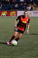 Rochester, NY - Saturday May 21, 2016: Western New York Flash forward Adriana Leon (19). The Western New York Flash defeated Sky Blue FC 5-2 during a regular season National Women's Soccer League (NWSL) match at Sahlen's Stadium.