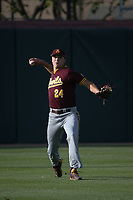Hunter Bishop (24) of the Arizona Sun Devils throws in the outfield during a game against the Southern California Trojans at Dedeaux Field on March 24, 2017 in Los Angeles, California. Southern California defeated Arizona State, 5-4. (Larry Goren/Four Seam Images)
