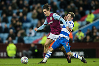 Aston Villa's Jack Grealish competing with Queens Park Rangers' Josh Scowen<br /> <br /> Photographer Andrew Kearns/CameraSport<br /> <br /> The EFL Sky Bet Championship -  Aston Villa v Queens Park Rangers - Tuesday 13th March 2018 - Villa Park - Birmingham<br /> <br /> World Copyright &copy; 2018 CameraSport. All rights reserved. 43 Linden Ave. Countesthorpe. Leicester. England. LE8 5PG - Tel: +44 (0) 116 277 4147 - admin@camerasport.com - www.camerasport.com