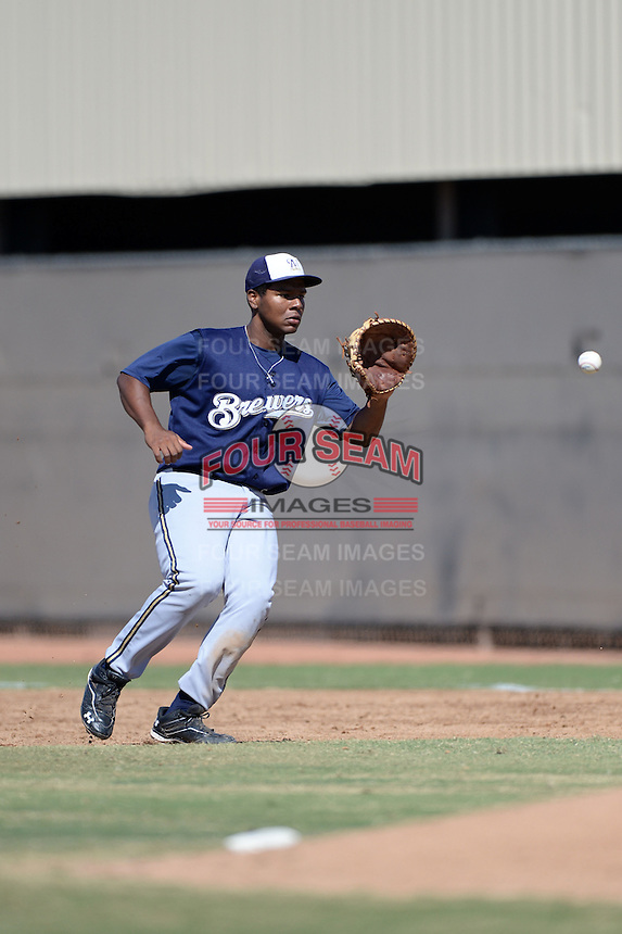 Milwaukee Brewers first baseman David Denson (8) during an Instructional League game against the Oakland Athletics on October 10, 2013 at Maryvale Baseball Park Training Complex in Phoenix, Arizona.  (Mike Janes/Four Seam Images)