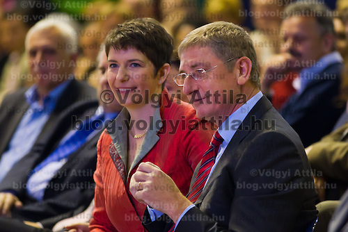 Ferenc Gyurcsany (2nd R) former prime minister of Hungary and his wife Klara Dobrev (2nd L) attend the Foundation of the Democratic Coallition Party in Budapest, Hungary on October 22, 2011. ATTILA VOLGYI