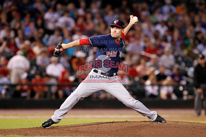 Pawtucket Red Sox pitcher Greg Smith #17 delivers a pitch during a game against the Rochester Red Wings at Frontier Field on August 30, 2011 in Rochester, New York.  Rochester defeated Pawtucket 8-6.  (Mike Janes/Four Seam Images)