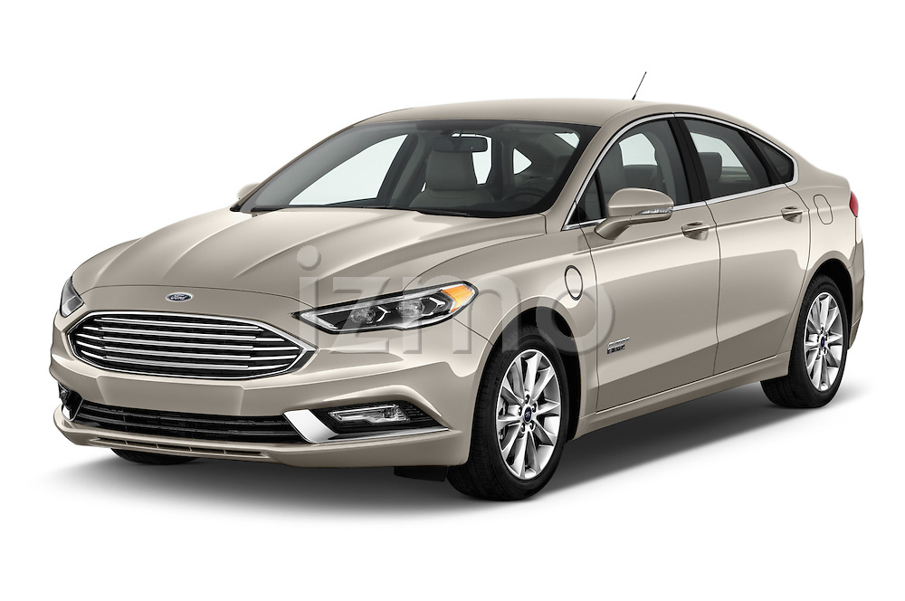 2017 Ford Fusion Energi Plug-In Hybrid SE Luxury 4 Door Sedan Angular Front stock photos of front three quarter view