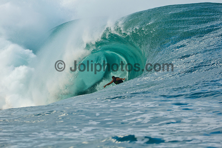 Teahupoo, Tahiti Iti, French Polynesia. Saturday August 27,  2011. Ryan Hipwood (AUS) was the first guy to tow today.  A day of amazing tow-in surfing at teahupoo which is already being called 'Super Saturday because of the incredible waves. The surf peaked in the 30' range around midday with Nathan Fletcher (USA), Bruce Irons (HAW) Koby Abberton (AUS), Laurie Towner (AUS) Dylan Longbottom (AUS) Cory Lopez (USA) and Dean Bowen (AUS) having standout waves.  Photo: joliphotos.com