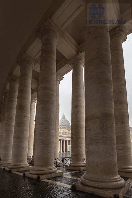 Jan. 31, 2014; Colonnade at St. Peter's Basilica, Vatican. (Photo by Matt Cashore/University of Notre Dame)