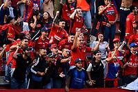 ENVIGADO - COLOMBIA, 15-09-2019: Hinchas de Deportivo Independiente Medellín, animan a su equipo, durante partido entre Envigado F. C. y Deportivo Independiente Medellín de la fecha 11 por la Liga Águila II 2019, en el estadio Polideportivo Sur de la ciudad de Envigado. / Fans of Deportivo Independiente Medellin, cheer for their team during a match between Envigado F. C., and Deportivo Independiente Medellin of the 11th date  for the Aguila Leguaje II 2019 at the Polideportivo Sur stadium in Envigado city. Photo: VizzorImage / León Monsalve / Cont.