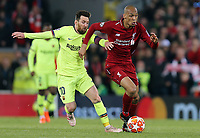 Liverpool's Fabinho looks to get away from Barcelona's Lionel Messi<br /> <br /> Photographer Rich Linley/CameraSport<br /> <br /> UEFA Champions League Semi-Final 2nd Leg - Liverpool v Barcelona - Tuesday May 7th 2019 - Anfield - Liverpool<br />  <br /> World Copyright © 2018 CameraSport. All rights reserved. 43 Linden Ave. Countesthorpe. Leicester. England. LE8 5PG - Tel: +44 (0) 116 277 4147 - admin@camerasport.com - www.camerasport.com