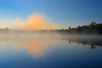 Fog at dawn on Lyons Lake<br /> Whiteshell Provincial Park<br /> Manitoba<br /> Canada