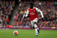 7th March 2020; Emirates Stadium, London, England; English Premier League Football, Arsenal versus West Ham United; Bukayo Saka of Arsenal