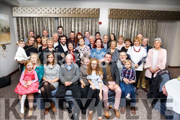 Laurence Looby center front centre, celebrating his 75th birthday with his family and friend at the Rose Hotel, Tralee on Sunday evening last.