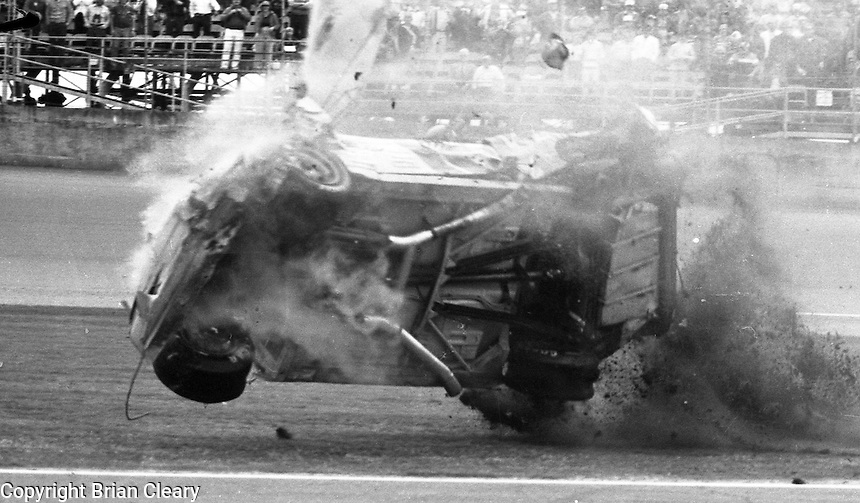 Ricky Rudd crash accident Busch Clash  at Daytona International Speedway in Daytona Beach, FL on February  1984. (Photo by Brian Cleary/www.bcpix.com)