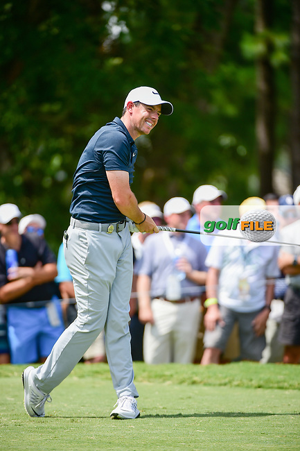 Rory McIlroy (NIR) watches his tee shot on 5 during Thursday's round 1 of the PGA Championship at the Quail Hollow Club in Charlotte, North Carolina. 8/10/2017.<br /> Picture: Golffile | Ken Murray<br /> <br /> <br /> All photo usage must carry mandatory copyright credit (&copy; Golffile | Ken Murray)