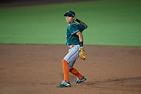 Greensboro Grasshoppers shortstop Ji-Hwan Bae (51) throws to first base during a South Atlantic League game against the Delmarva Shorebirds on August 21, 2019 at Arthur W. Perdue Stadium in Salisbury, Maryland.  Delmarva defeated Greensboro 1-0.  (Mike Janes/Four Seam Images)