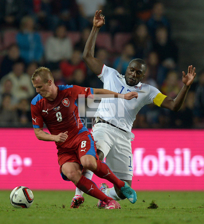 PRAGUE, Czech Republic - September 3, 2014: USA's Jozy Altidore and David Limbersky of the Czech Republic during the international friendly match between the Czech Republic and the USA at Generali Arena.