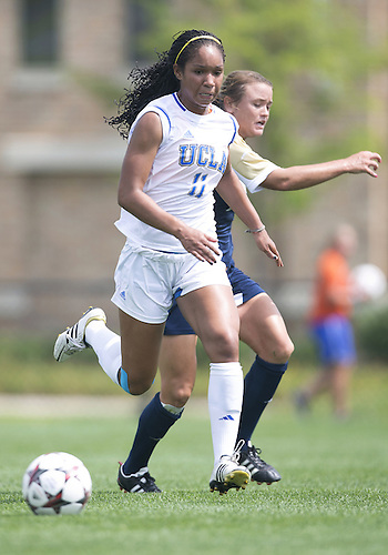 September 01, 2013:  UCLA forward Darian Jenkins (11) advances the ball during NCAA Soccer match between the Notre Dame Fighting Irish and the UCLA Bruins at Alumni Stadium in South Bend, Indiana.  UCLA defeated Notre Dame 1-0.
