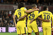 September 8th 2017, Stade Saint-Symphorien, Metz, France; French League 1 football, Metz versus Paris St Germain;  NEYMAR JR (psg) KYLIAN MBAPPE (psg) and EDINSON CAVANI (psg) celebrate their goal from Mbappe in the 5th minute