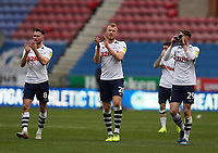 8th February 2020; DW Stadium, Wigan, Greater Manchester, Lancashire, England; English Championship Football, Wigan Athletic versus Preston North End; Alan Browne, Jayden Stockley and Tom Barkhuizen of Preston North End applaud the visiting supporters after the final whistle