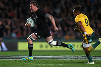 Liam Squire heads for the tryline during the Bledisloe Cup and Rugby Championship rugby match between the New Zealand All Blacks and Australia Wallabies at Eden Park in Auckland, New Zealand on Saturday, 25 August 2018. Photo: Simon Watts / lintottphoto.co.nz