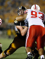 MU right guard blocks Nebraska Cornhuskers Ndamukong Suh during the fourth quarter at Memorial Stadium in Columbia, Missouri on October 6, 2007. The Tigers won 41-6.